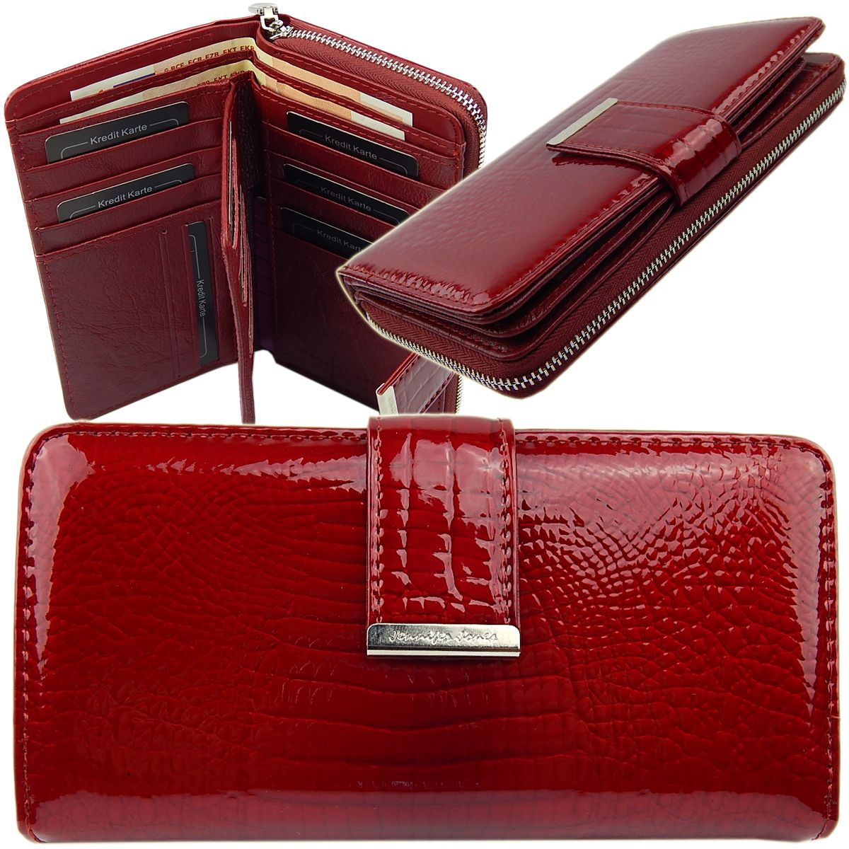 OPJ712R Geldbörse Leder rot Portemonnaie Querformat Croco. Jennifer Jones