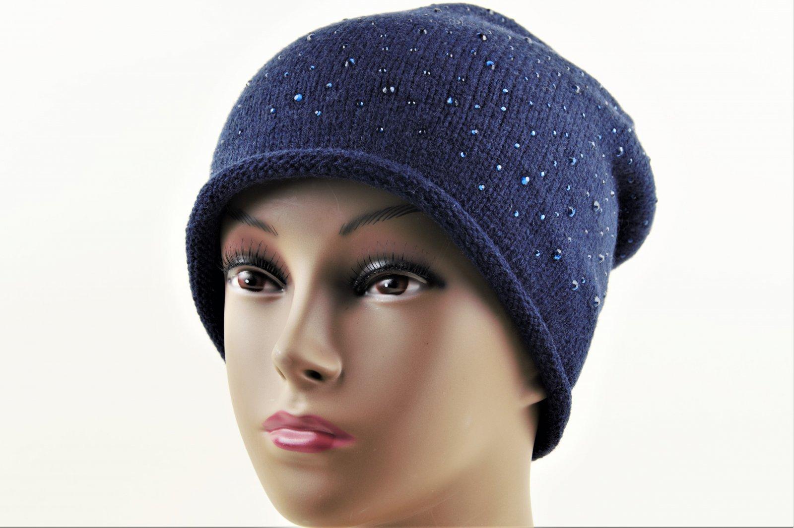 sehr schöne hochwertige Mütze für Damen mit Steinchen Strickmütze NEU