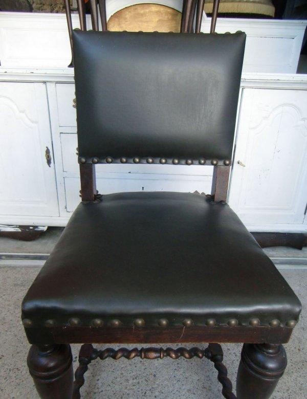 6 st hle gr nderzeit antik kunstleder eiche massiv. Black Bedroom Furniture Sets. Home Design Ideas