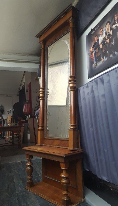 212cm hoch i spiegel standspiegel mit konsole i gr nderzeit nussbaum antik ebay. Black Bedroom Furniture Sets. Home Design Ideas