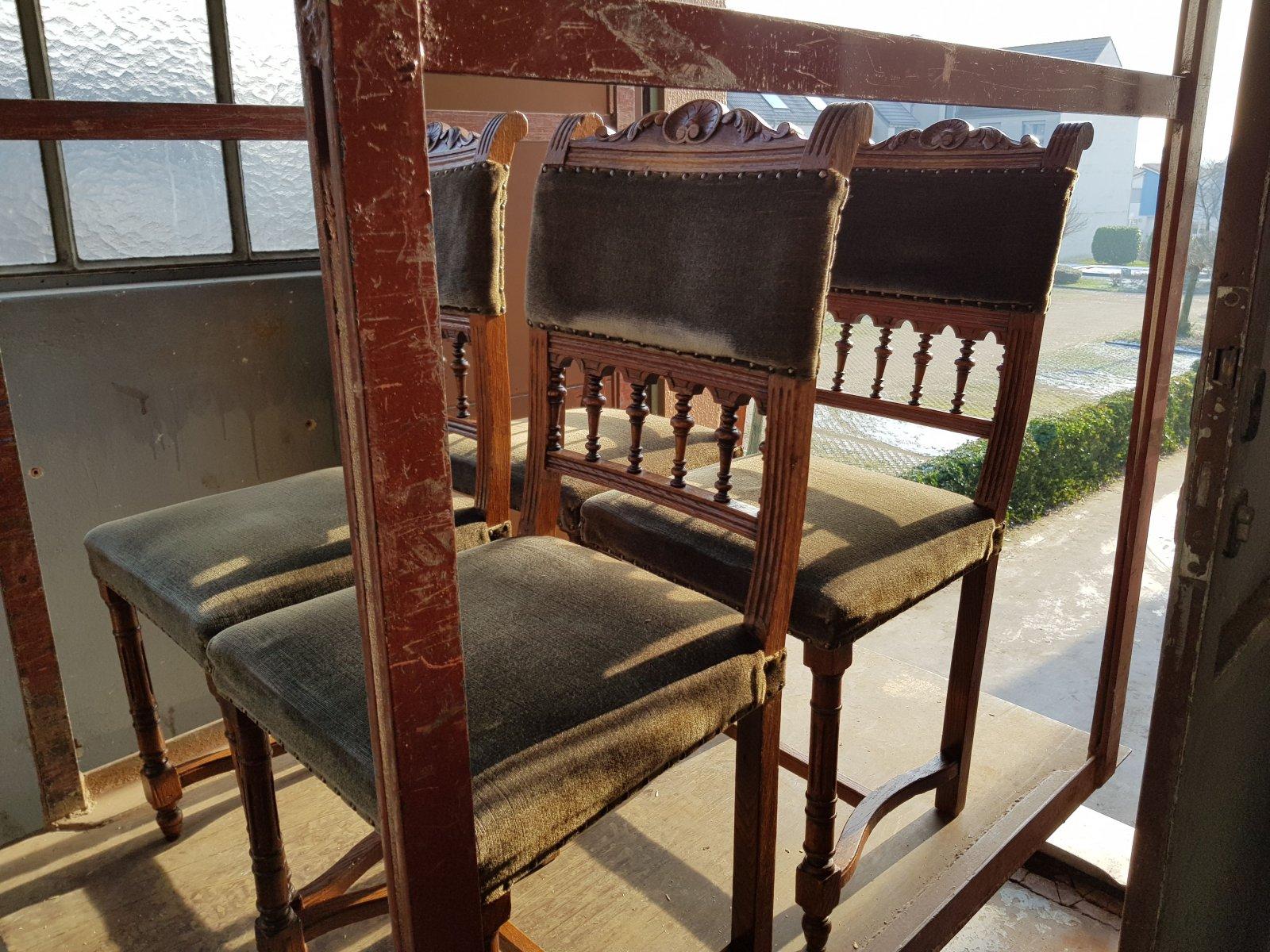 4 st hle antik eiche massiv bezug mohair samt gr nderzeit unrestauriert ebay. Black Bedroom Furniture Sets. Home Design Ideas