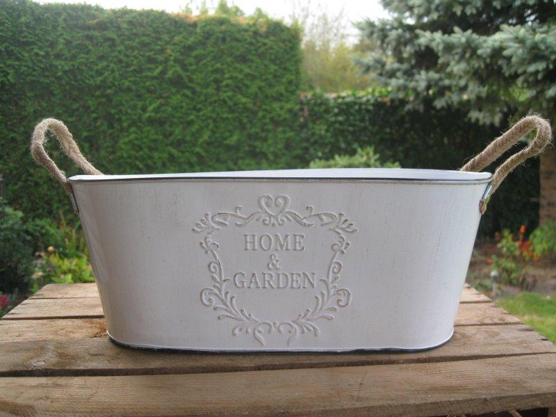 Gro e jardiniere home garden shabby pflanztopf wei for Grosse jardiniere