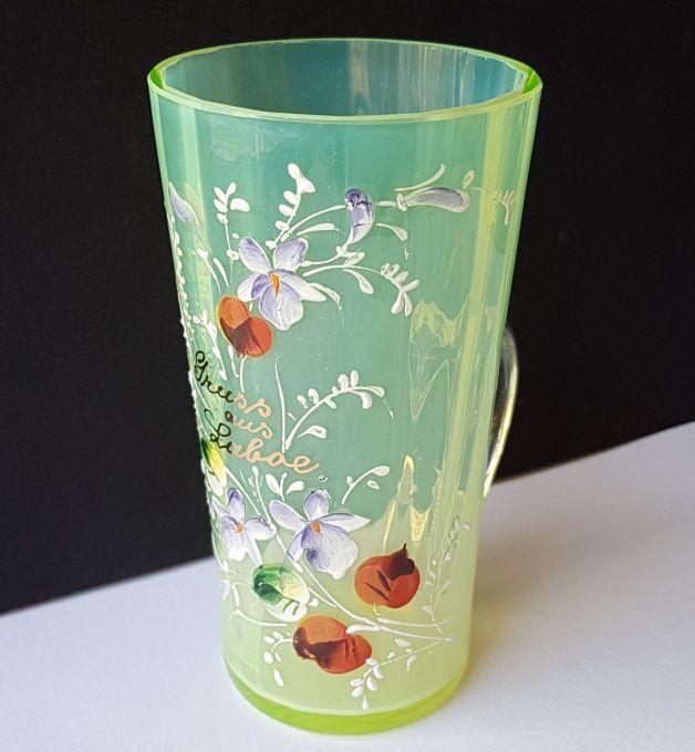 Glass Cup, Uranium Glass, Enamel Painting, Laboe, um 1900 ...