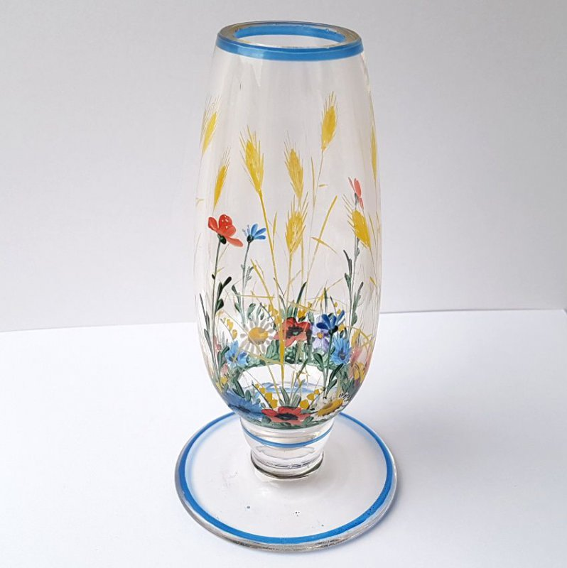 1900 Beer Glass 1900 Painting Enamel Hand around Painted