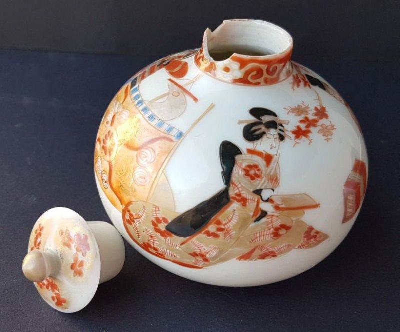 Kutani Um 1880 – 1900 Al954 Handbemalt Flakon Japan Porzellan Sporting Asiatika