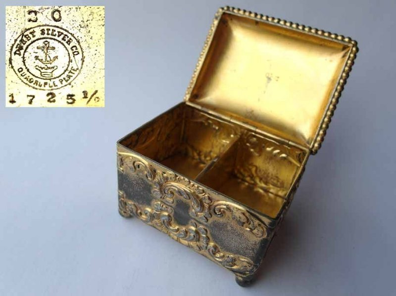 Old Postage Stamp Dispensers Box Derby Silver Co Quadruple Plate Around 1890