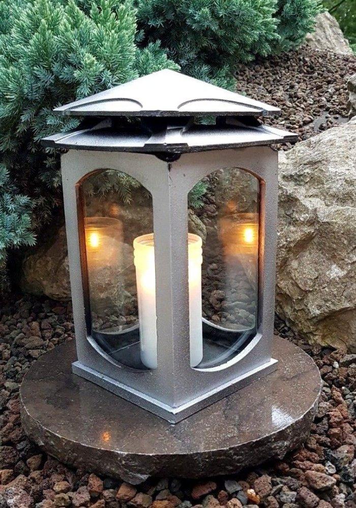 Grablaterne /& Sockel Grablampe Lampe Grableuchte Grablicht Grabschmuck Schwarz *