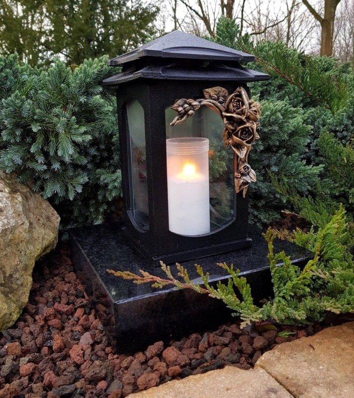 Grablaterne Kerze  Sockel Grablampe Lampe Grableuchte Grablicht Teelicht Baum