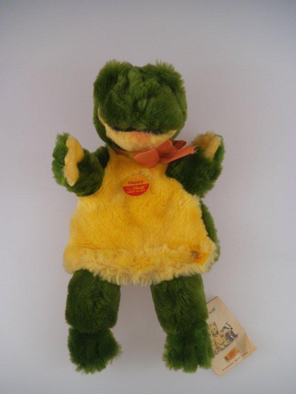852 Steiff Steiff Handpuppe Happy Frosch 253782 1997-1999 komplett mit KFS