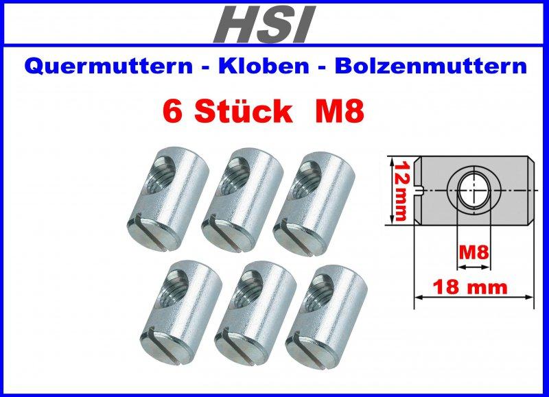 Kloben Quermuttern 10 Stk Bolzenmuttern  M6 10x12.5x7mm