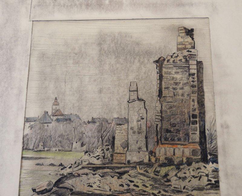 orig zeichnung w morisse ir 91 oldenburg ruinen fen polen russland 1915 ebay. Black Bedroom Furniture Sets. Home Design Ideas