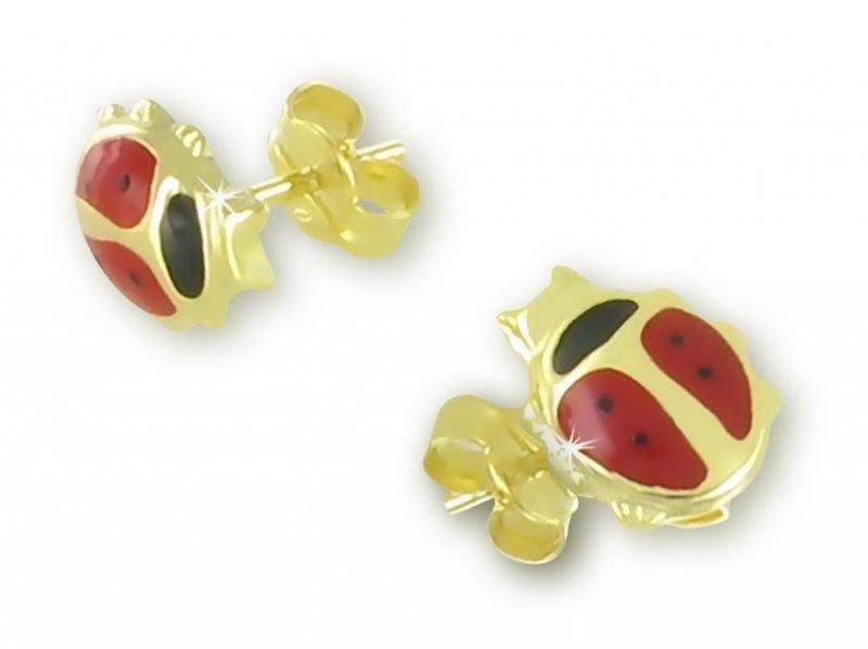 Ohrringe Marienkäfer massiv Gold 333 Kinderohrringe Käfer Ohrstecker Gelbgold