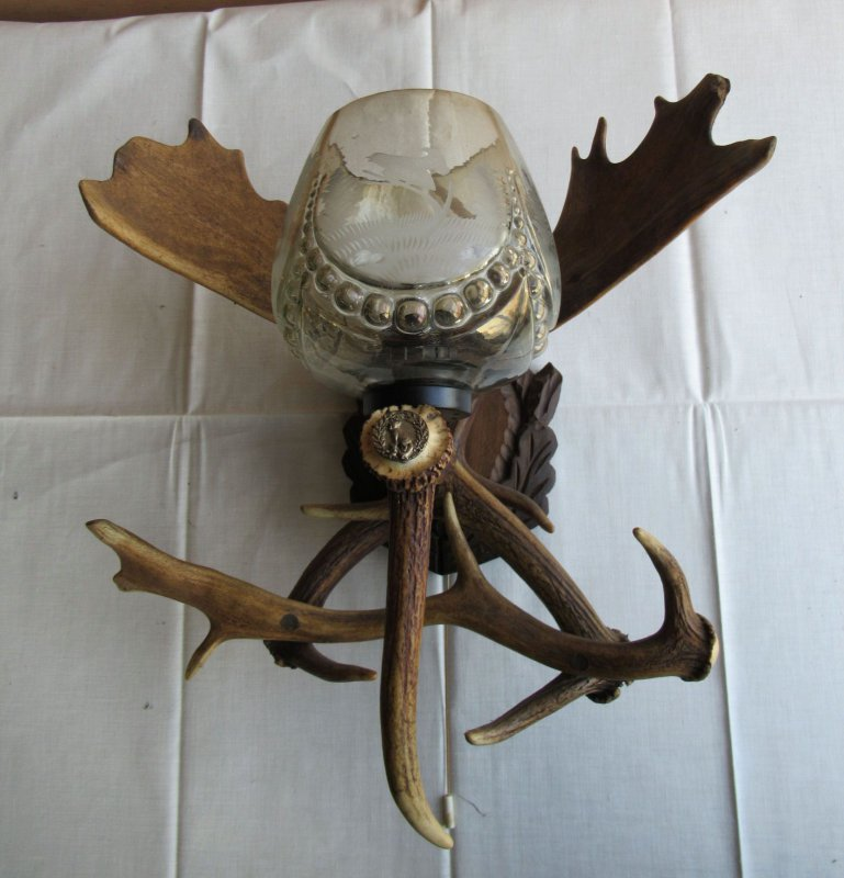 ältere Geweih Wandlampe Lampe 1 flammig Jäger Jagd jagdlich Elch und ...