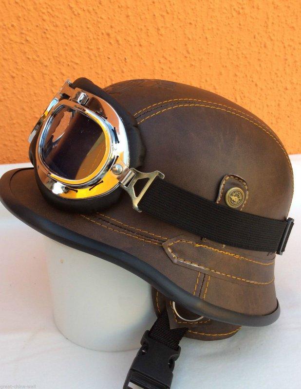 chopper helm gr l bikerhelm bulzeye braun mit brille casco. Black Bedroom Furniture Sets. Home Design Ideas