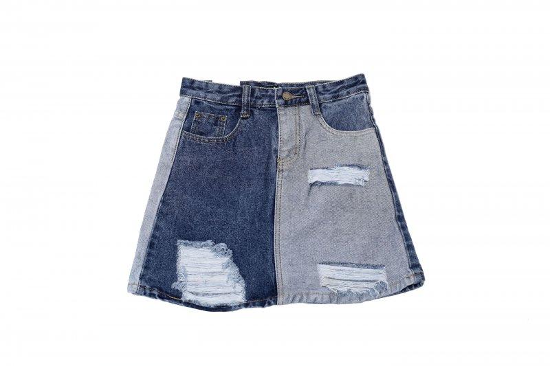 Damen Jeansrock Jeans Shorts Kurz Mini Rock  Sommerrock Minirock Blau 2018 NEU