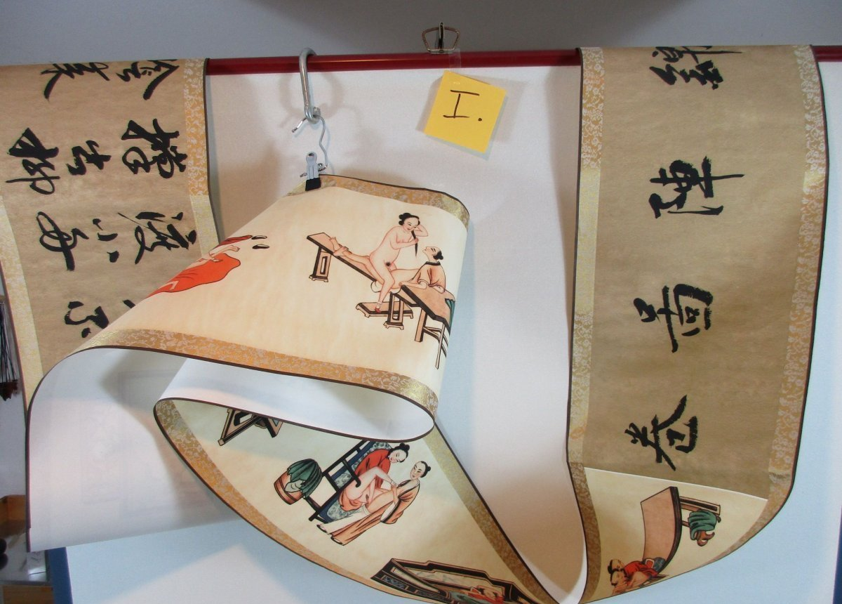 altes Rollbild Akt Sex Stellungen China Gemälde Aquarell