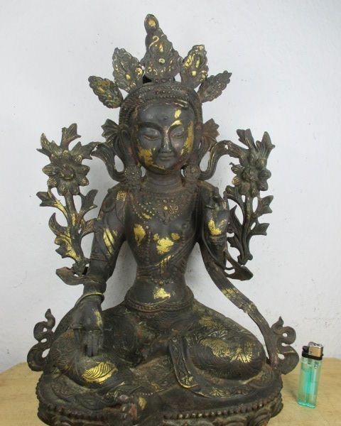 alter buddha bronze anmut pur original bemalt free jade