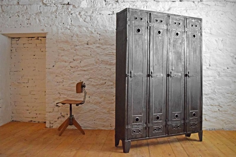 4er spind schrank antik metall vintage fabrik lost places alt industriedesign ebay. Black Bedroom Furniture Sets. Home Design Ideas