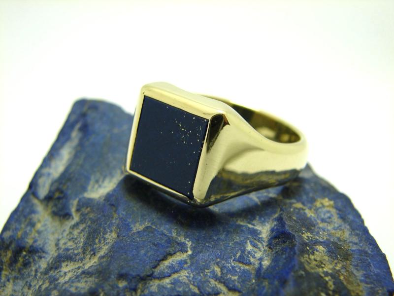 herren lapis ring 585 gold 14 karat siegelring gr e 65. Black Bedroom Furniture Sets. Home Design Ideas