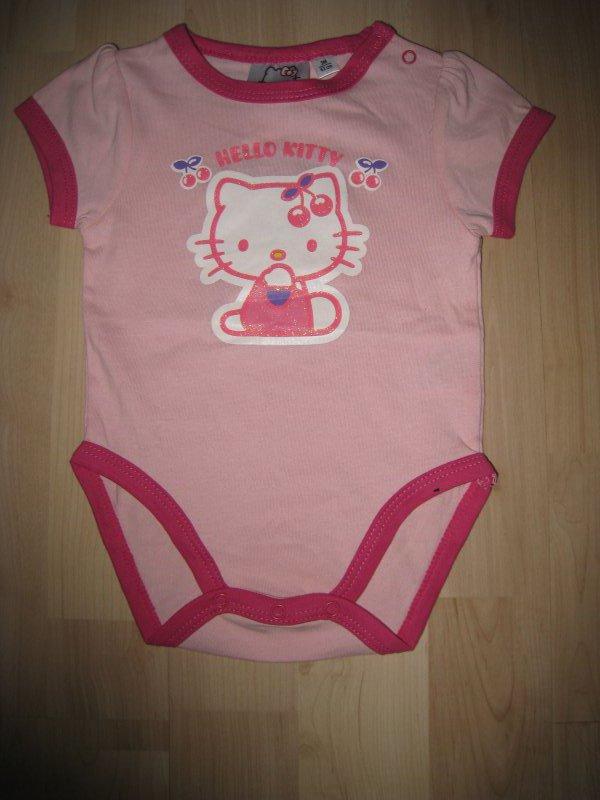 Glitzer NEU Hello Kitty  Kurzarmbody lila Body für Baby Mädchen