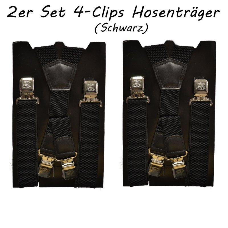 HOSENTRÄGER eXtra stark  Doppel-Clip 4cm  SCHWARZ °NEU°