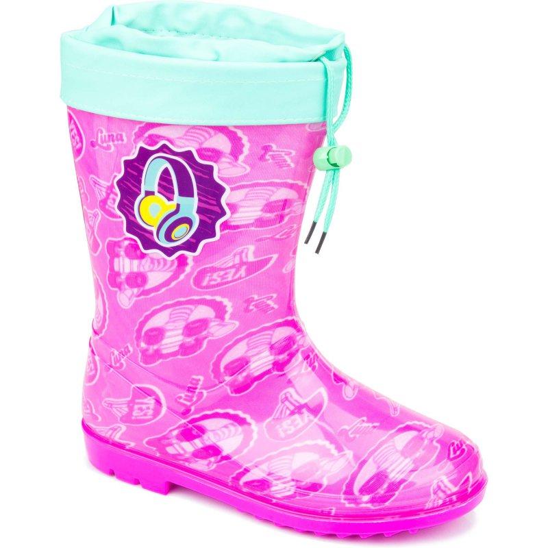 FROZEN Stivali da pioggia bimba rosa glitter gomma