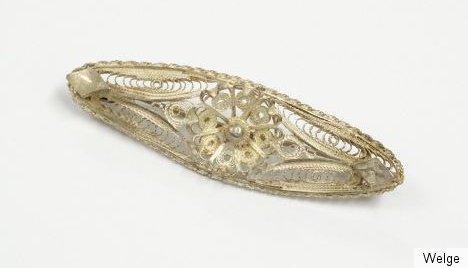 Filigrane Unterzeichnet Silber Brosche Um 1900 Mit
