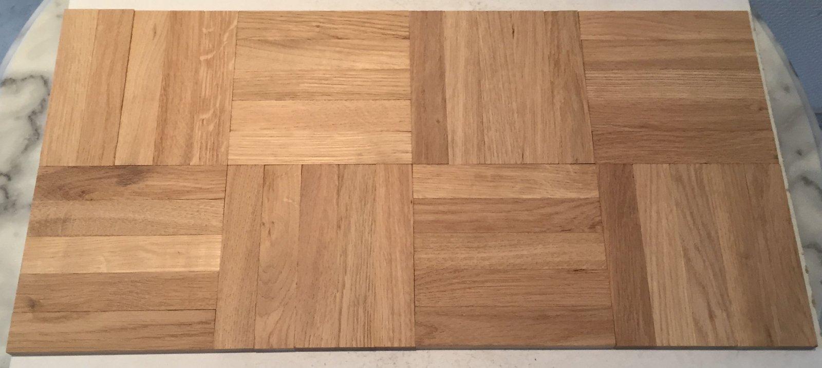 8 Würfel Mosaikparkett Eiche natur in Reparaturgröße 120 mm