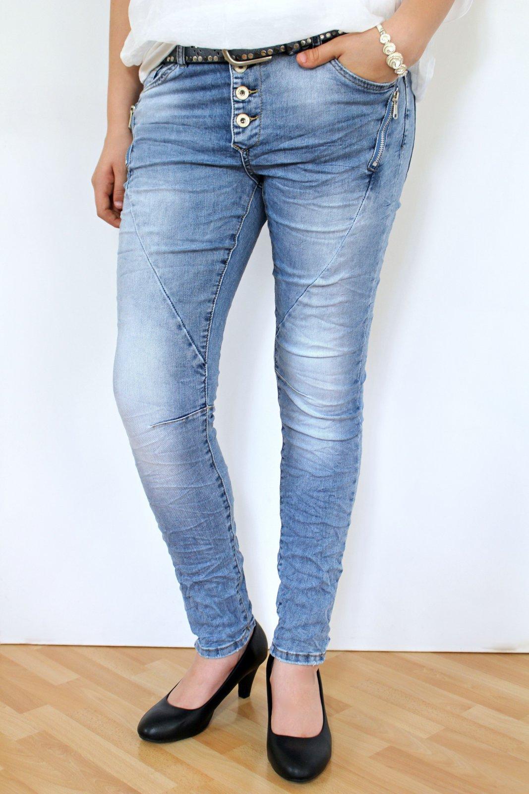 Mayaadi Damen Boyfriend Jewelly Jeans Hose Röhrenjeans Used
