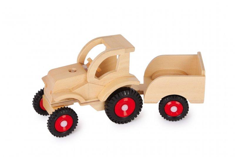 trecker mit anh nger holz traktor bulldog auto bauernhof. Black Bedroom Furniture Sets. Home Design Ideas