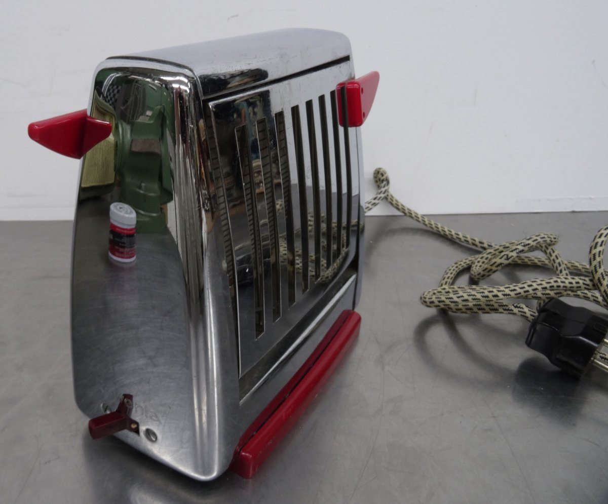 kultiger rowenta toaster verchromt rote bakelitgriffe made in germany 50er ebay. Black Bedroom Furniture Sets. Home Design Ideas