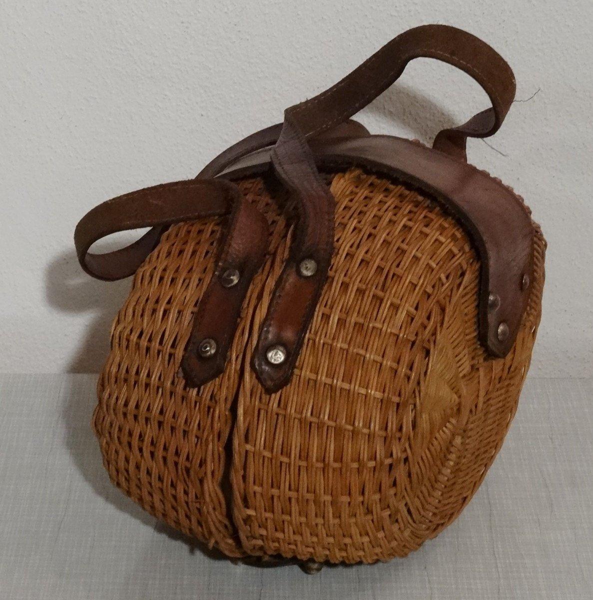 Dekorative Designer Korb Tasche Weidengeflecht und Leder made in