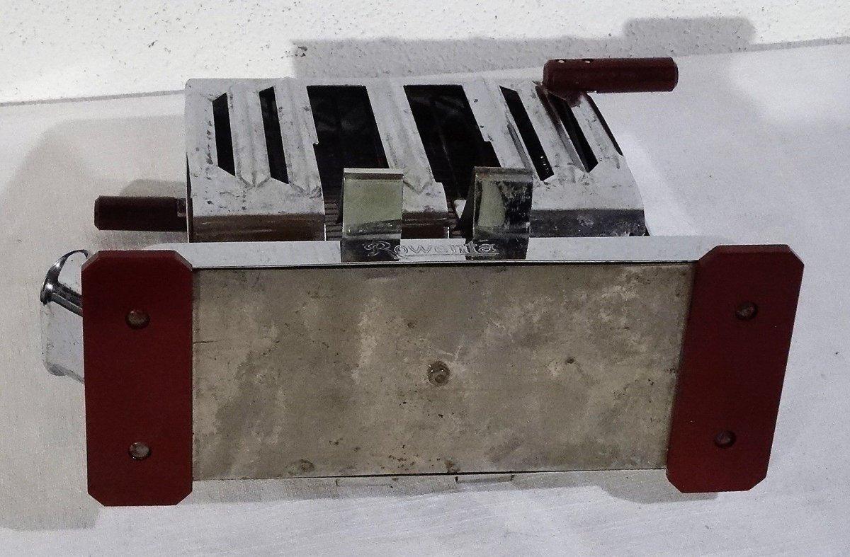 Antiker Rowenta Chrom Toaster Verchromt Mit Bakelitgriffen