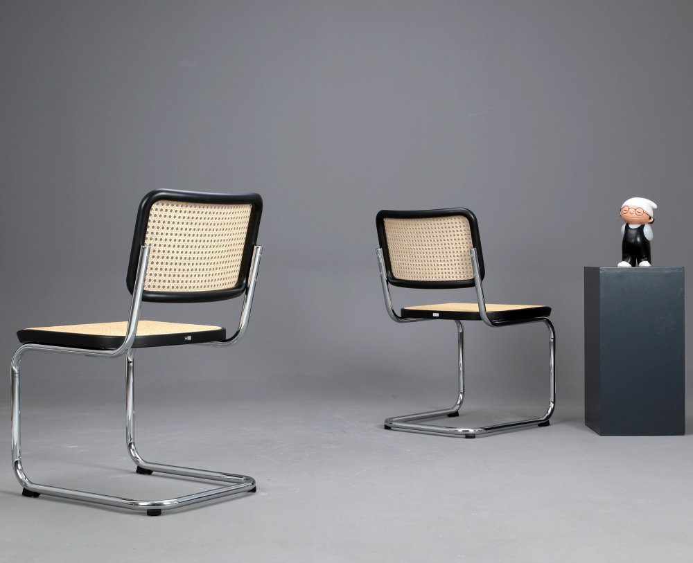 thonet s32 freischwinger bauhaus klassiker st hle schwarz breuer chairs top ebay. Black Bedroom Furniture Sets. Home Design Ideas