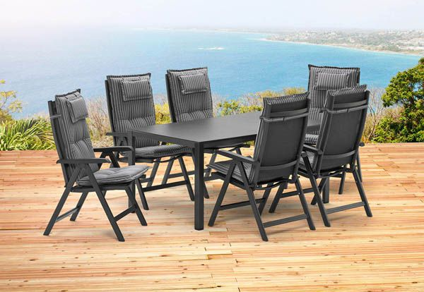 gartenm belset 1 tisch 160 cm und 6 kettler klappsessel mit auflagen gartenm bel ebay. Black Bedroom Furniture Sets. Home Design Ideas