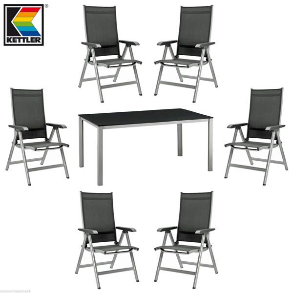 kettler basic plus gartenm bel 1 gartentisch 160 cm und 6 klappsessel in silber ebay. Black Bedroom Furniture Sets. Home Design Ideas