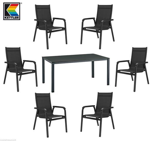 kettler basic plus gartentisch 140 cm 6 stapelsessel gartenm belset anthrazit ebay. Black Bedroom Furniture Sets. Home Design Ideas