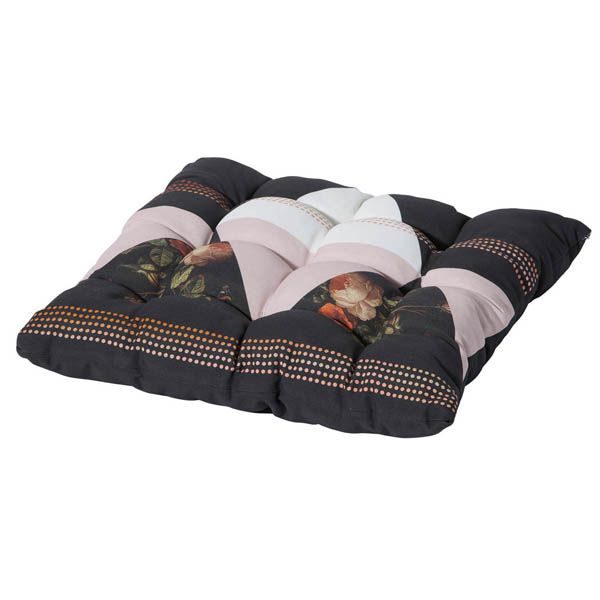 Sitzkissen 42 x 42 cm mit Bändern in grau Stuhlkissen Kissen Madison Dekokissen