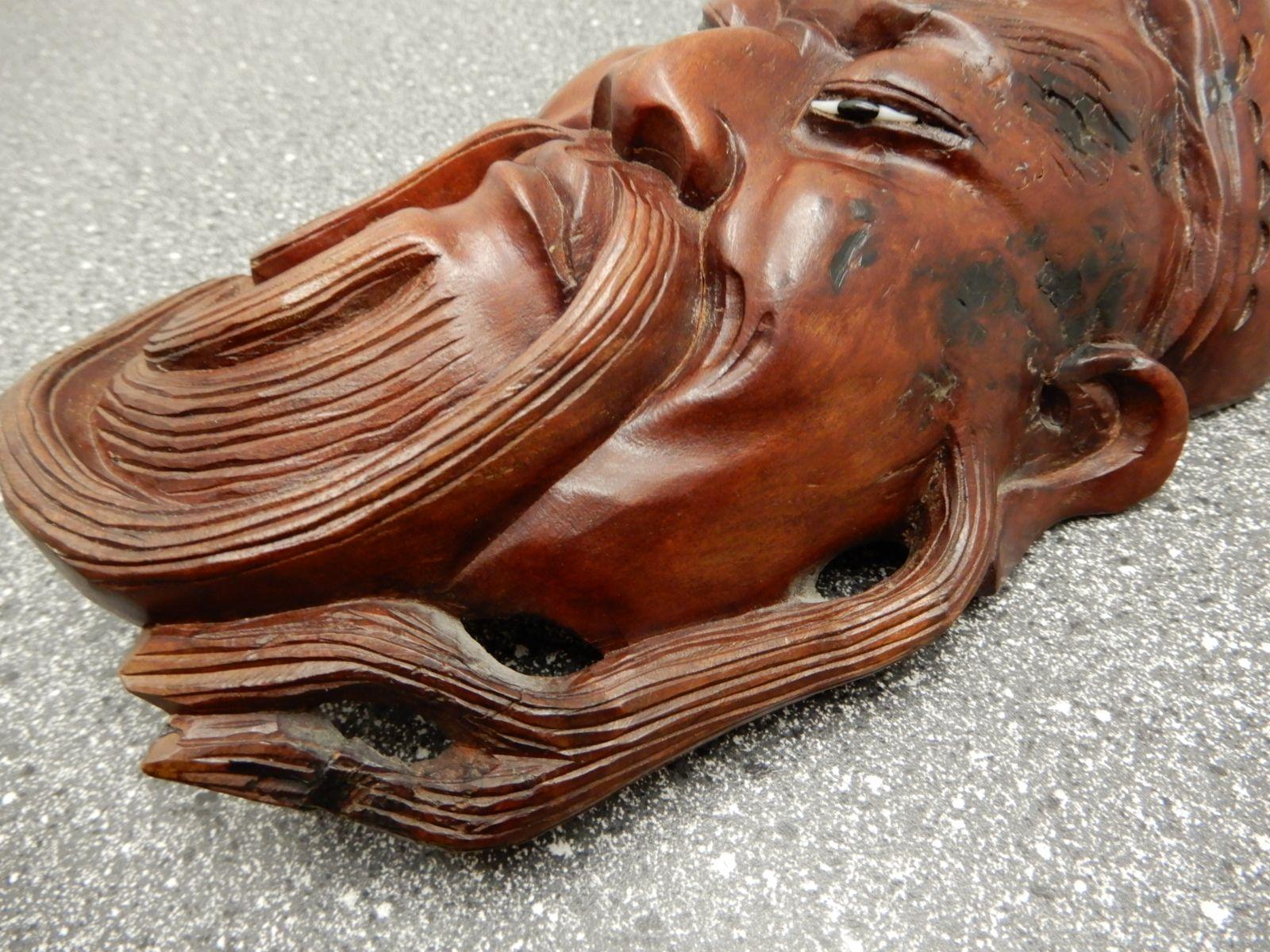 Alte asiatische holzfigur figur holz maske wanddeko for Asiatische wanddeko
