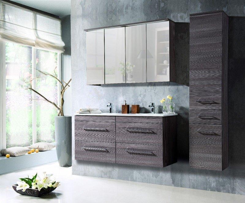 badm bel set cosmo 120 cm badezimmer mit doppelwaschbecken badezimmerm bel led ebay. Black Bedroom Furniture Sets. Home Design Ideas