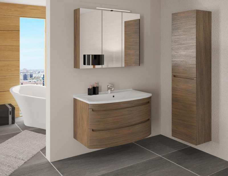 badm bel set dynamic plus 90 cm led badezimmer badset mit waschbecken braun ebay. Black Bedroom Furniture Sets. Home Design Ideas