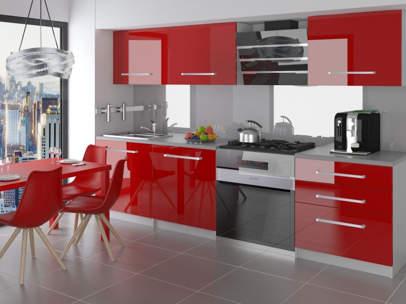 neu komplette k che kompakto ii 180 cm hochglanz verschiedene farbkombinationen ebay. Black Bedroom Furniture Sets. Home Design Ideas