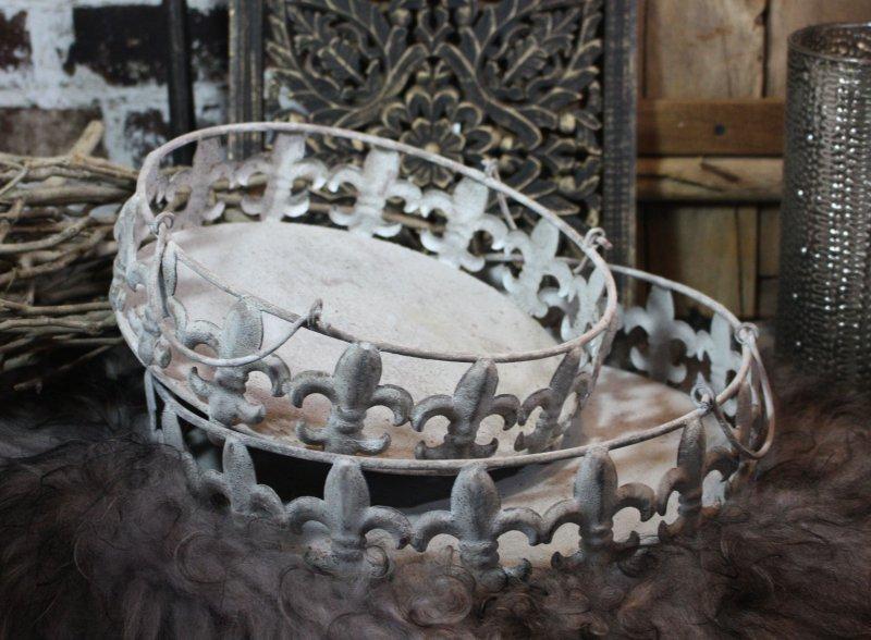 Chic Antique Fußschale Schale Metall Antik Grau Shabby Vintage Landhaus 2 Größen