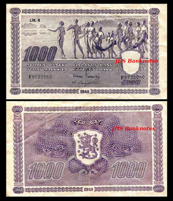 14 Banknotes 2x 5-1.000 Finnish Markka B Issue 1945 Litt 11