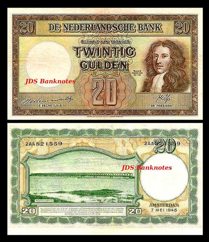 Netherlands 2x 10-1000 Gulden 07 Issue 07.05.1945-14 Banknotes