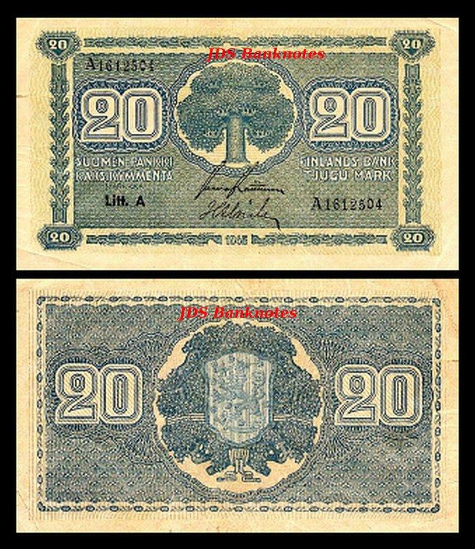 A 12 16 Banknotes 2x 5-5.000 Finnish Markka Issue 1945 Litt