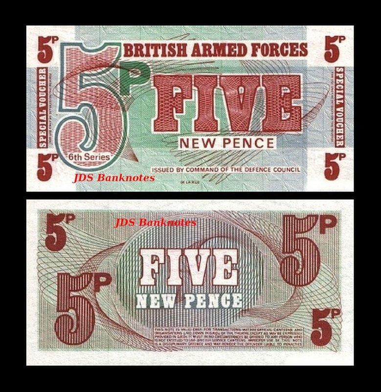BRITISH ARMED FORCES 6/'th SERIES 3 PCS UNC SET 5 10 50 PENCE 1972 P-M 47 48 49
