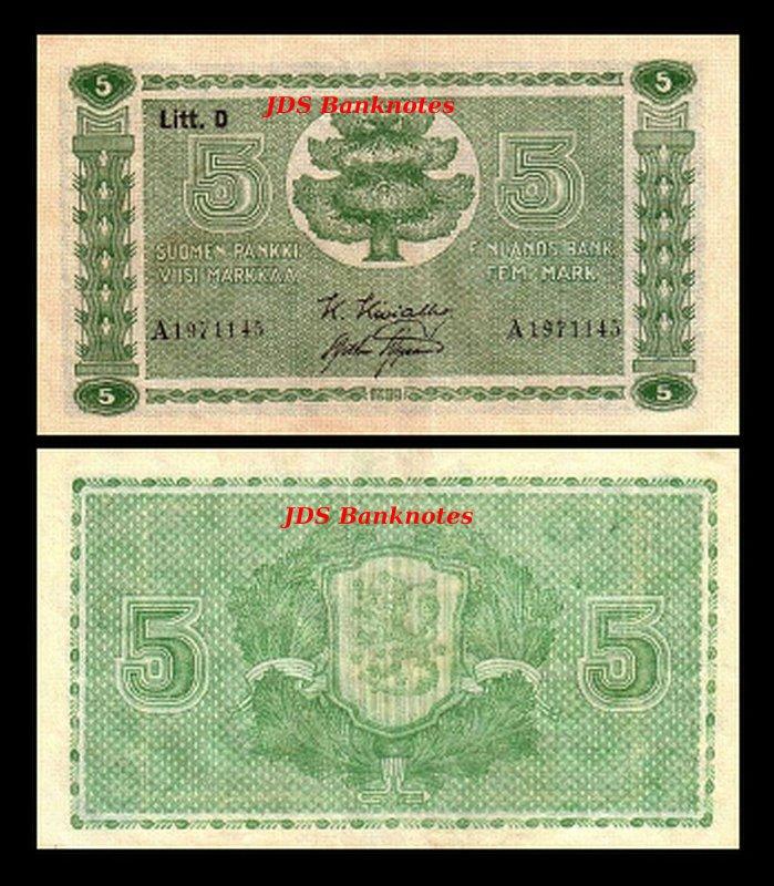 2x 5,10,20,50,100,5.000 Finnish Markka 13 12 Banknotes Issue 1939-1941