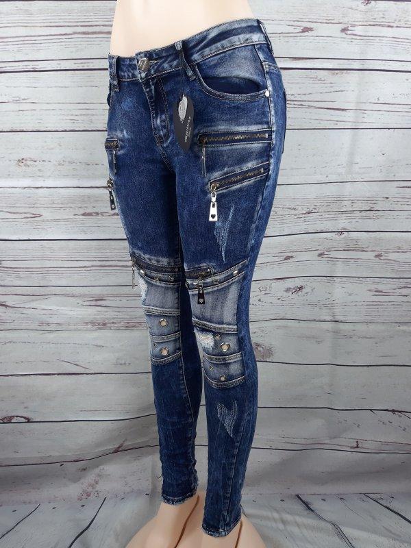 24f1c8daaa4f Details zu Damen Jeans Original Denim Reißverschluss Destroyed Blau Hose  34-42 Skinny Slim