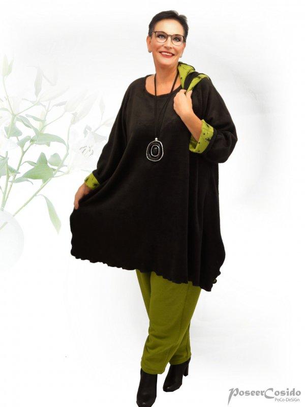 PoCo DeSiGn LAGENLOOK Wende-Pullover Long Shirt Pulli Flausch L-XL-XXL-XXXL